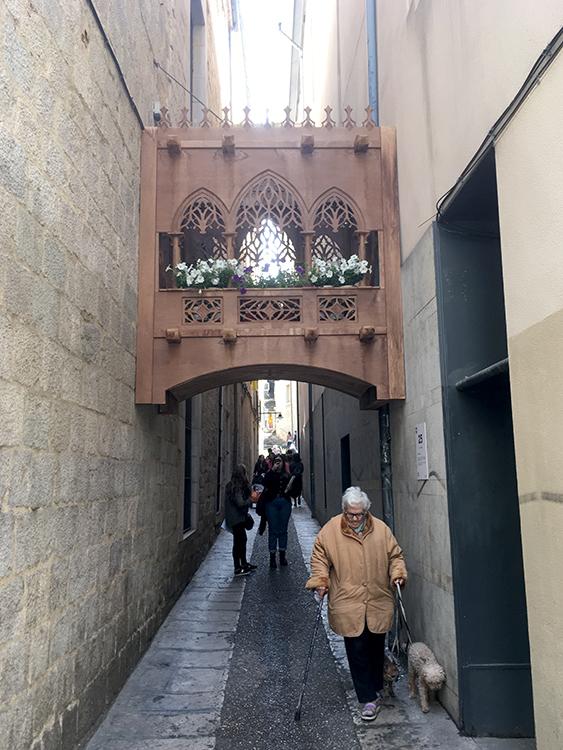 een verrassend smal straatje in girona