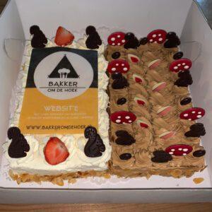 slagroomtaart en mokkataart van bakkerij frank rood speciaal voor Bakker om de Hoek